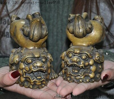 Chinese fengshui bronze animal foo dog lion beast Evil spirits statue pair