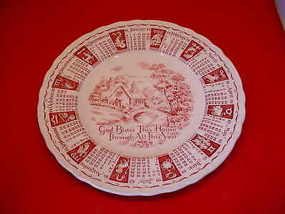 Royal Staffordshire 1961 Zodiac Calendar Plate God Bless This House All The Year