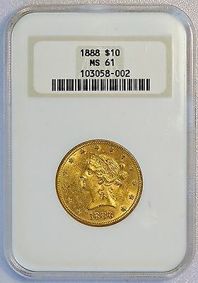 1888 $10 US Liberty Head Gold Eagle Coin (NGC MS 61 MS61) Mint Luster Frost