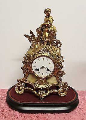 Antique French Gilt Mantle Clock With Figure Of A Lady + A Stand - Circa 1900