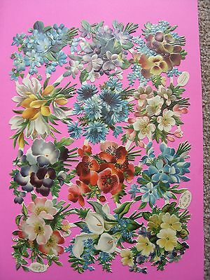 Victorian Die Cut Sheet of Floral Scraps by Raphael Tuck