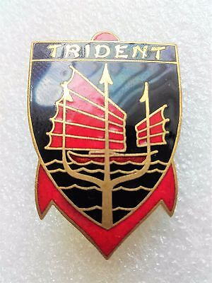 French Khaki Navy Badge For The Patrol Vessel Trident Indochina (A.augis)