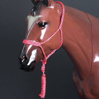 Classic Equine Braided Strong Uv Protect Horse Rope Halter W/ 8' Lead Pink