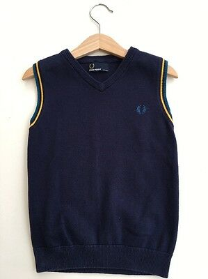 *FRED PERRY* Boys Blue Tipped Jumper Tank Top Polo (4-5 Years) A630