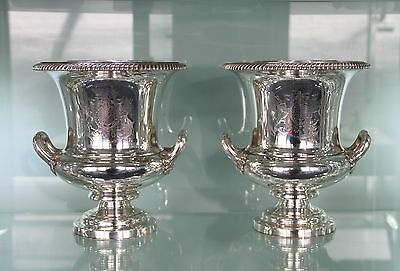 English Old Sheffield Silver Plate Wine Coolers C1830 Admiral Halliwell Carew