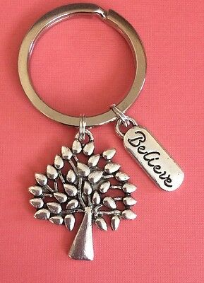 Antique Silver Tone Mulberry Tree Charm & Believe Quote Charm Keyring. Gift.