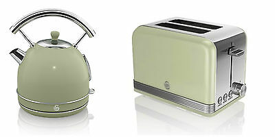 NEW Swan Kitchen Appliance Retro 1.7L GREEN Dome Kettle & 2 Slice Toaster Set