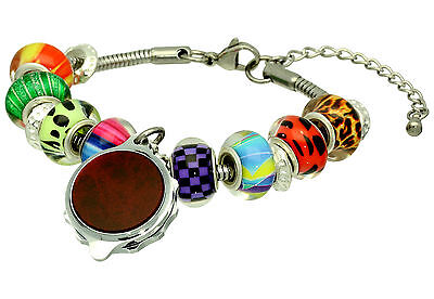 SOS Talisman Medical Alert Bracelet - Beaded Style with Burgundy Design Capsule