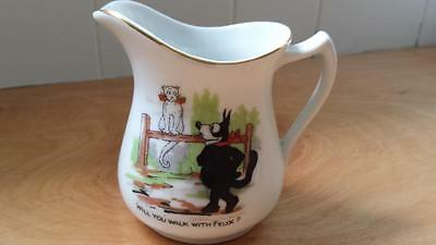 Vintage FELIX THE CAT Creamer Pitcher WILL YOU WALK WITH FELIX? Gold Trim RARE