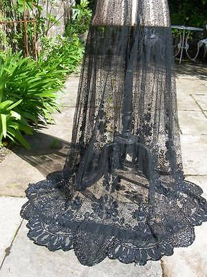Stunning antique French circa 1900 sequinned sequins tulle lace skirt