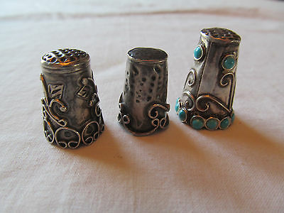 Lot of Three antique vintage sterling silver Thimbles Mexico Mexican Turquoise