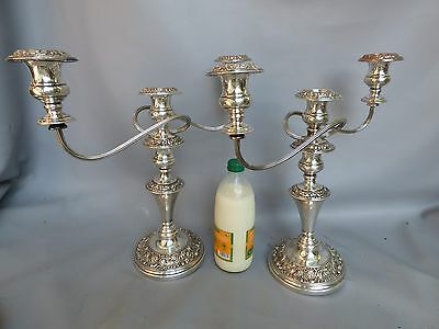 A Nice Pair Of Silver Plated Three Branch Candelabra *english,silver On Copper*