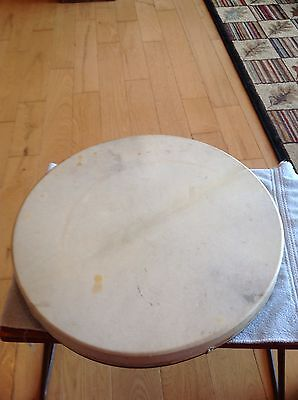 "VINTAGE HAND DRUM 17 3/4"" Large Heavy Made Collectible Instrument Primitive Deco"