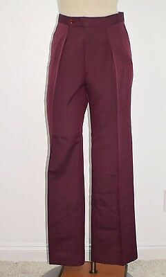 Vintage 70's Men's Burgundy Cotton Rayon Disco Casual Dress Pants 30 W x 32""