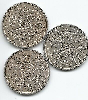 3 Florin(two shilling) coins 1955, 1962 &1965 Queen Elizabeth II - UK post free