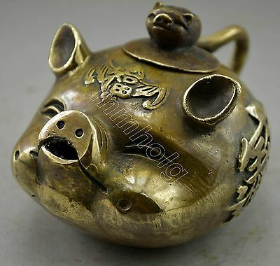 Collectable Antique old Tibet copper mammon pig figure Teapot