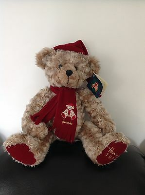"Harrods Teddy Bear 1999 Christmas Bear 12"" Toy Millennium Edition With Tag"
