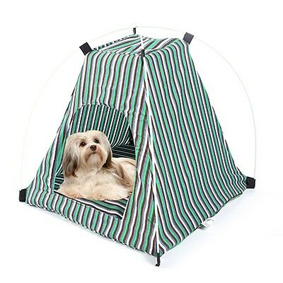 New Pet Tent Striped Pattern Portable Dog Play House Cat Kennel Sleeping Bed Mat