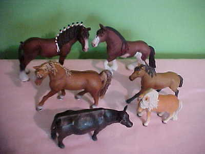 SCHLEICH horse lot (5) and one cow - CLYDESDALE AND others VGC