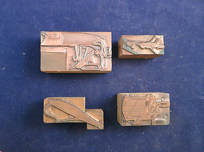 Vintage Lot of Four Copper Printers Blocks - Fishing Lures & Reel - Lot 3