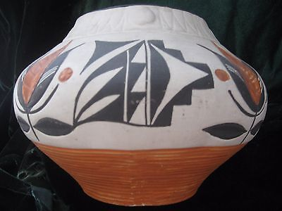 VINTAGE ACOMA Rachel Concho PUEBLO POTTERY Handcoiled Handpainted Old 5x8 SIGNED