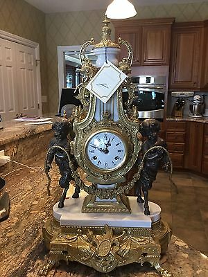 Antique Vintage Lancini Italy Gold & Marble Clock