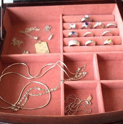 Job Lot Of 925 Sterling Silver. 11 Rings Pendants And Chains Most Are QVC