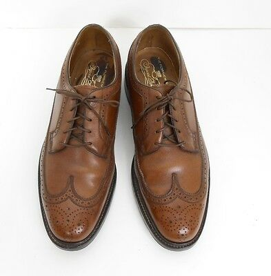 Vtg Florsheim Imperial Brown Leather Wing-Tip Oxfords Shoes V Cleat Size 10.5 D