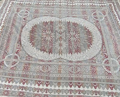 Stunning Antique Vintage Brocade Throw, 87 Inches X 75 Inches