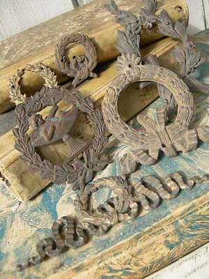 Collection 6 antique French embossed metal furniture mounts appliques