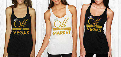 Off the Market Rhinestone Bridesmaid tank top- Off to Vegas - Bride to Be Tank