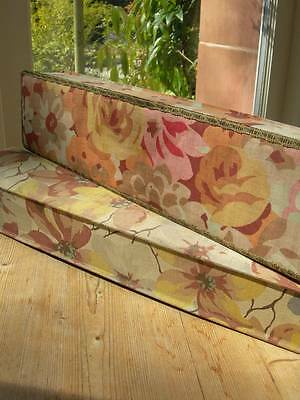 Two antique French fabric covered boudoir boxes 1920s - faded Art Deco flowers