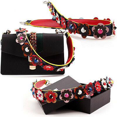 Colorful Flowers Rivet Strap You Leather Shoulder Straps for Handbag Accessories