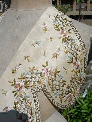 Pair antique Georgian early Victorian hand embroidered silk dress collar panels
