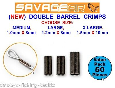 Savage Gear Double Barrel Crimps For Sea Coarse Fishing Line Mono Wire Traces