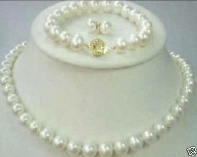 AAA 7-8mm White Freshwater Pearl Necklace Bracelet & Earring Sets