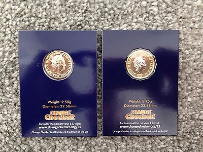 Last Round £1 Coin & New 12 Sided £1 Coin. Coins Are Uncirculated Coins.