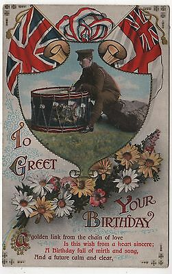 Valentines Ww1 Printed Postcard - To Greet You On Your Birthday