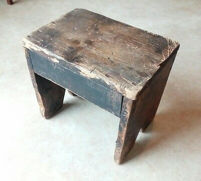 Small Antique Wooden Stool - Pine with Patina