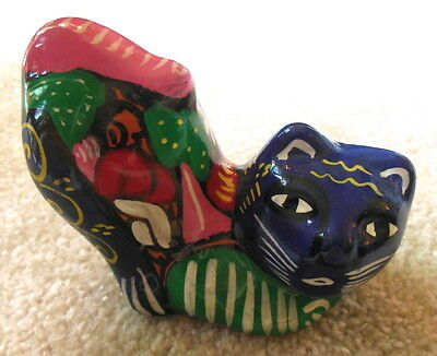 Mexican Folk Art Small Cat Figurine Hand Painted Pottery - Nice & Colorful