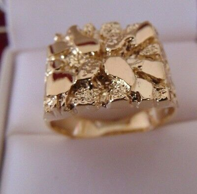 Solid 14k Yellow Gold Huge Heavy Men Nugget Ring Band All size available