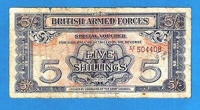 England M20a 5 Shillings ARMED FORCES VOUCHER 2nd Series W/Strip 1948 F+  RARE