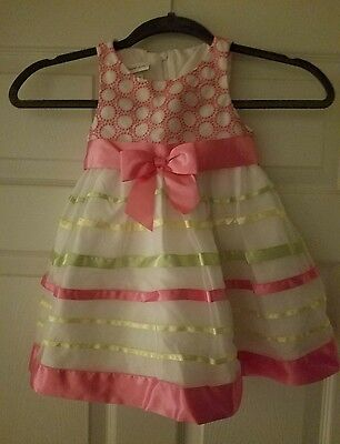 Bonnie Jean Girl's Dress Spring 2T. Pink/White/Green/Yellow