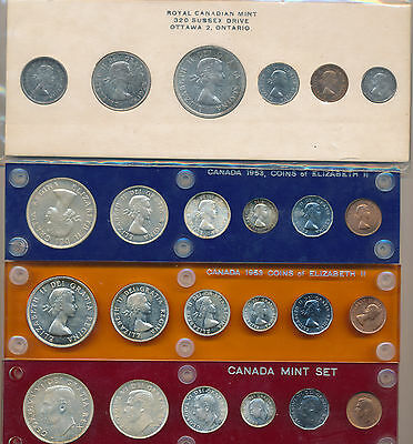 Canada Lot of 4 Silver Mint Sets 1952, 1953(2) & 1960 (PL)