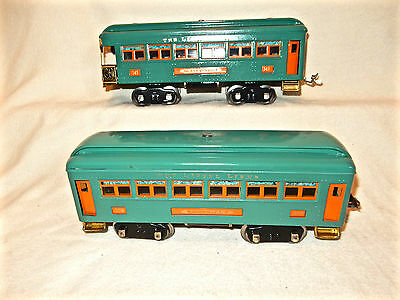 Restored Lionel 341 Peacok Observation Car And 339 Pullman Car-Tinplate-Std Gage