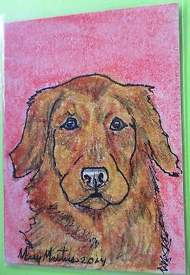 IRISH RED SETTER DOG SIGNED ORIGINAL OoAK ACEO ART CARD TRADE SWAP COLLECT