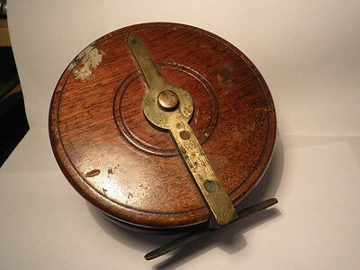 """Vintage S  Allcock & Co  Wooden 5"""" Centre Pin Fly Fishing Reel  Brass Fittings"""