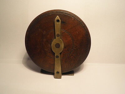 """Vintage Treen 4"""" Wooden Centre Pin Fly Fishing Reel Brass Fittings Nice Patina"""