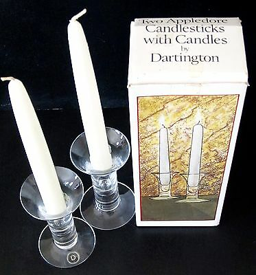 A boxed pair of Dartington Crystal 'Appledore' candle sticks + candles FT367.
