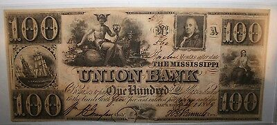 1839 The Mississippi Union Bank $100 One Hundred Dollar Note